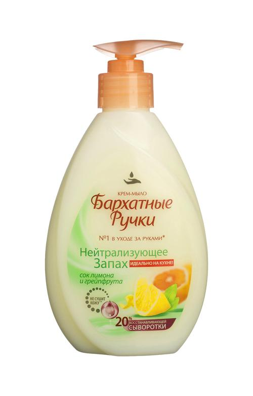 описание Бархатные Ручки жидкое крем-мыо, нейтрализующее запах, 240 мл