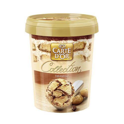 """Мороженое с заменителем молочного жира со вкусом тирамису и вином """"Марсала"""", с шоколадными бисквитами и наполнителем """"Карамель мягкая. Соус кофейный"""" """"Carte d'Or"""""""