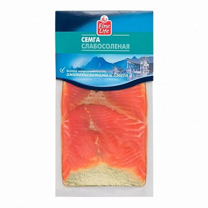 Семга слабосоленая ломтики, изделия деликатесные из лососевых рыб слабосоленые