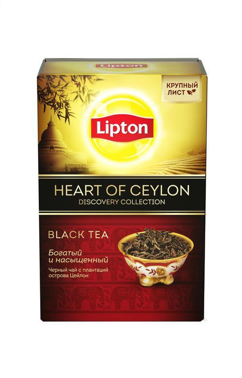 описание Lipton чай черный листовой Heart of Ceylon 85 гр