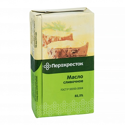 Масло традиционное сладко-сливочное несолёное с массовой долей жира 82.5%. Высший сорт