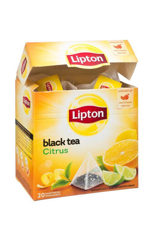 Чай черный Lipton Citrus байховый ароматизированный с цедрой цитрусовых, 20пак.