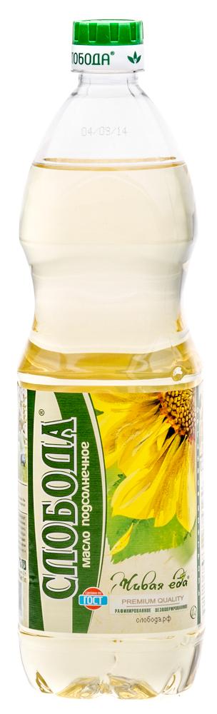 Масло подсолнечное Слобода рафинированное дезодорированное, 1л.