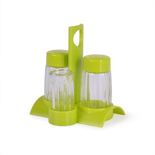 Набор для приправ 4 пр. цвет Зеленый (стекло)