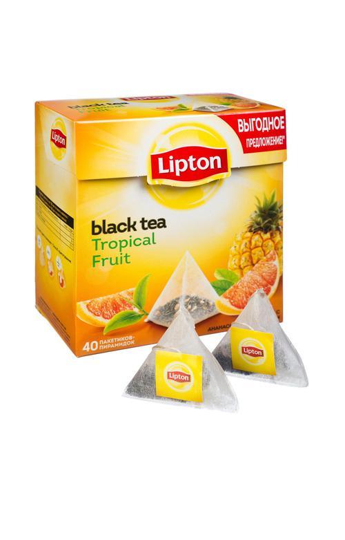 """описание Lipton черный чай в пирамидках, фруктовый """"Tropical Fruit Tea"""" 40 шт"""