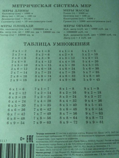 Тетрадь на 12 листов