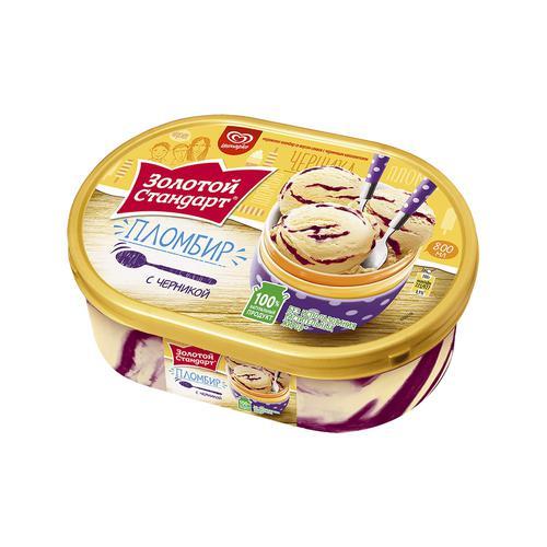 Золотой стандарт мороженое пломбир с черникой 475 г