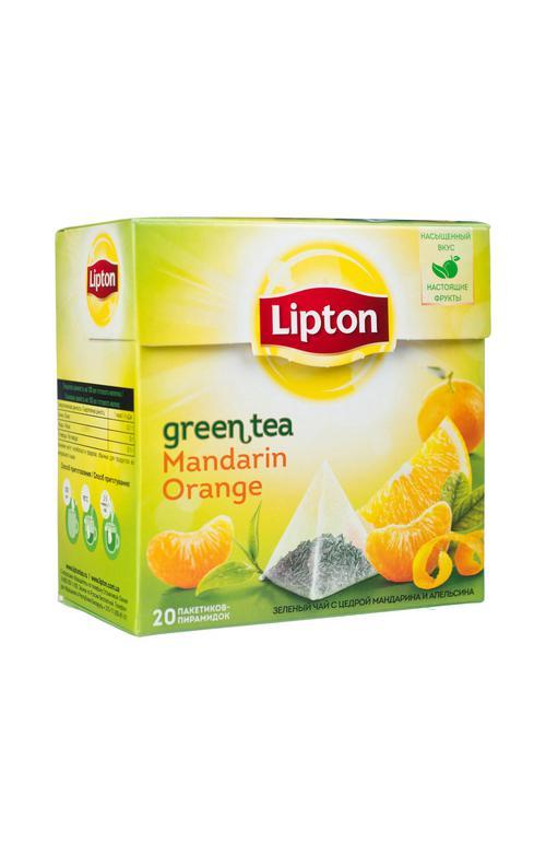 цена Чай зеленый Lipton ароматизированный цедра мандарина и апельсина, 20пак.