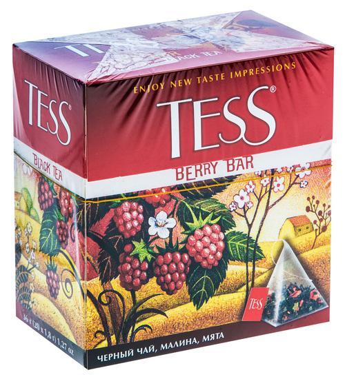 Чай черный байховый с малиной и ароматом ревеня Тесс Берри Бар в пакетиках