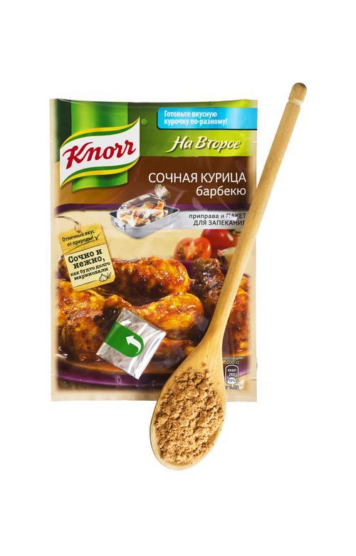 Кнорр на второе сухая смесь для приготовления сочной курицы барбекю 27х26г