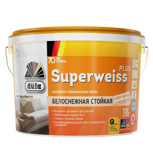 Краска Dufa Retail Superweiss Plus глубокоматовая 10 л.