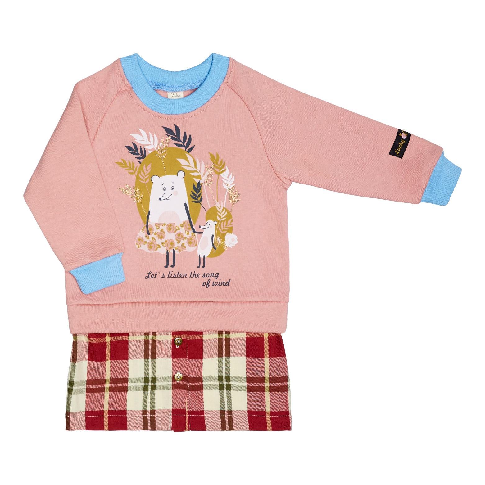 Платье Lucky Child Осенний лес розовое 104-110