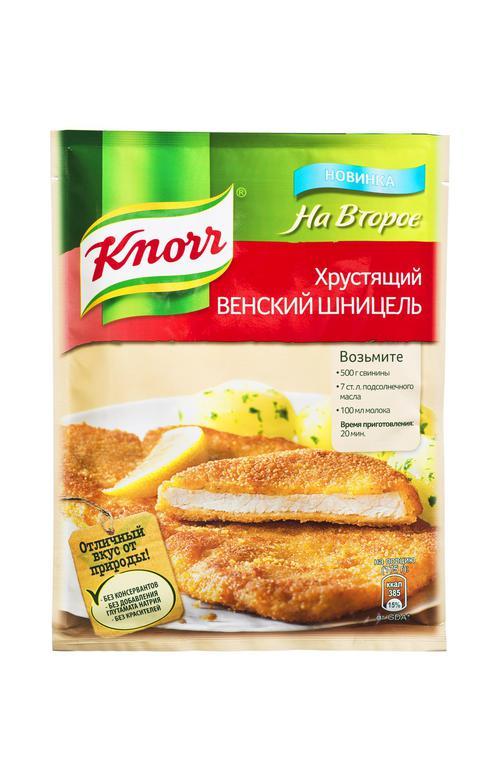 отзыв Кнорр на второе сухая смесь для приготовления хрустящего венского шницеля 21х43г