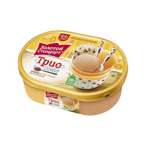 Мороженое Золотой стандарт Трио пломбир Крошка Крем-Брюле Вкус персика