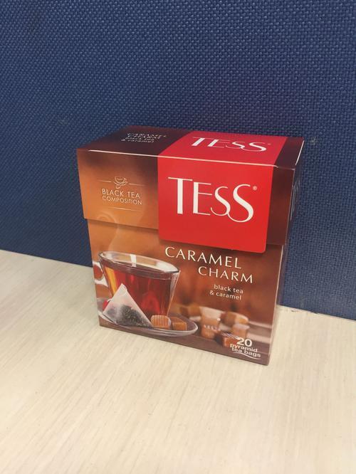 стоимость Чай черный байховый с ароматом и кусочками карамели Тесс Карамель Шарм в пакетиках