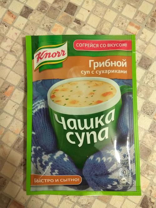 """стоимость Суп с сухариками """"Чашка супа"""" Грибной, сухая смесь, 1 порция, """"Knorr"""", 15,5г"""
