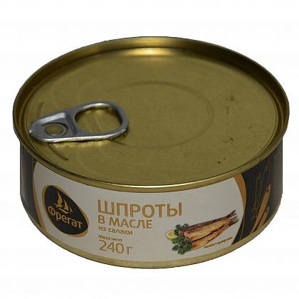 Шпроты в масле из салаки, консервы из копченой рыбы стерилизованные «Фрегат»