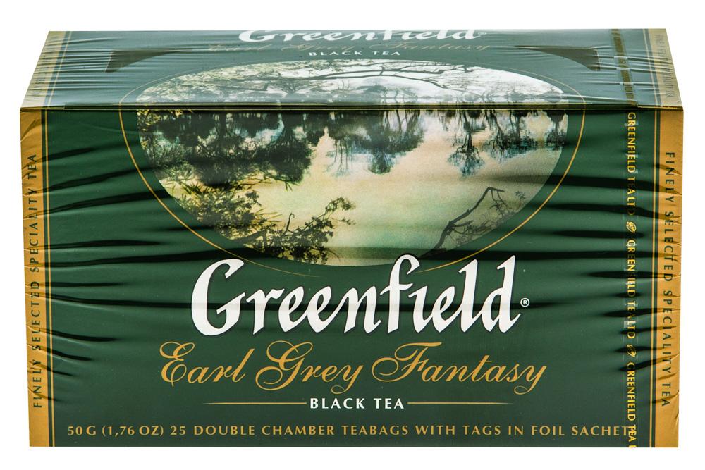 Чай черный байховый Гринфилд Эрл Грей Фэнтази в пакетиках