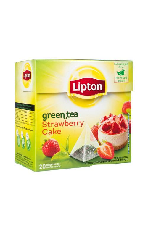 Чай Lipton Клубничный Кейк зеленый, 20пак.