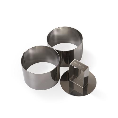 FISSMAN Набор из двух кулинарных колец с прессом 7x4,5см (нерж.сталь)