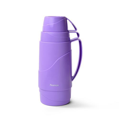FISSMAN Термос 1000мл Фиолетовый (пластиковый корпус со стеклянной колбой)