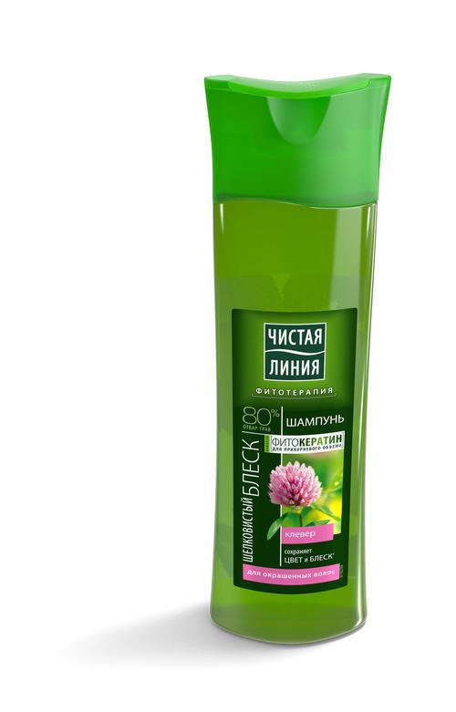 стоимость Шампунь чистая линия на отваре целебных трав для окрашенных волос шелковистый блеск клевер