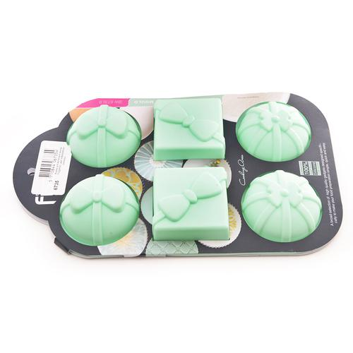 Форма для выпечки 6 кексов ПОДАРКИ, цвет Аквамарин (силикон)