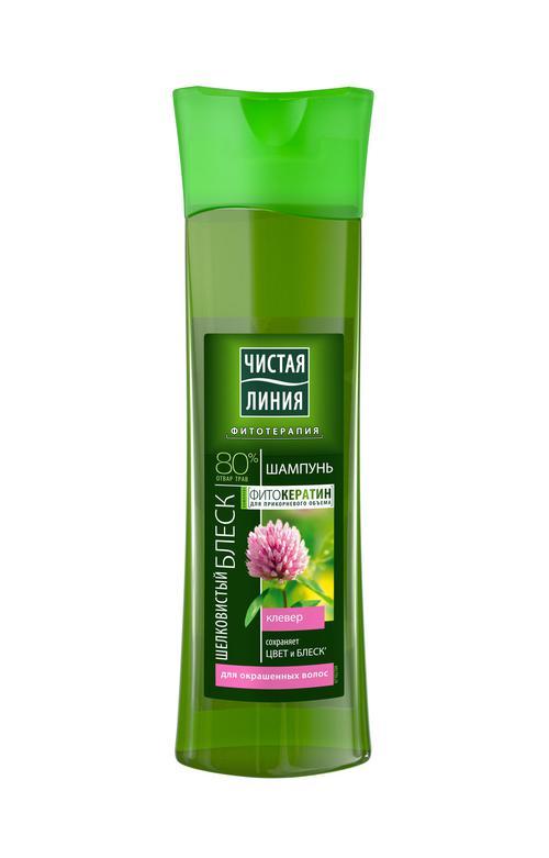 цена Шампунь чистая линия на отваре целебных трав для окрашенных волос шелковистый блеск клевер