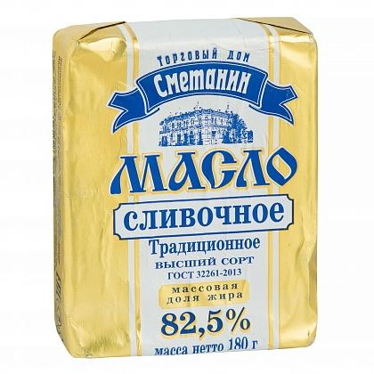 """Масло сливочное сладко-сливочное несолёное """"Традиционное"""". Высший сорт. Массовая доля жира 82.5%. ТД """"Сметанин"""""""