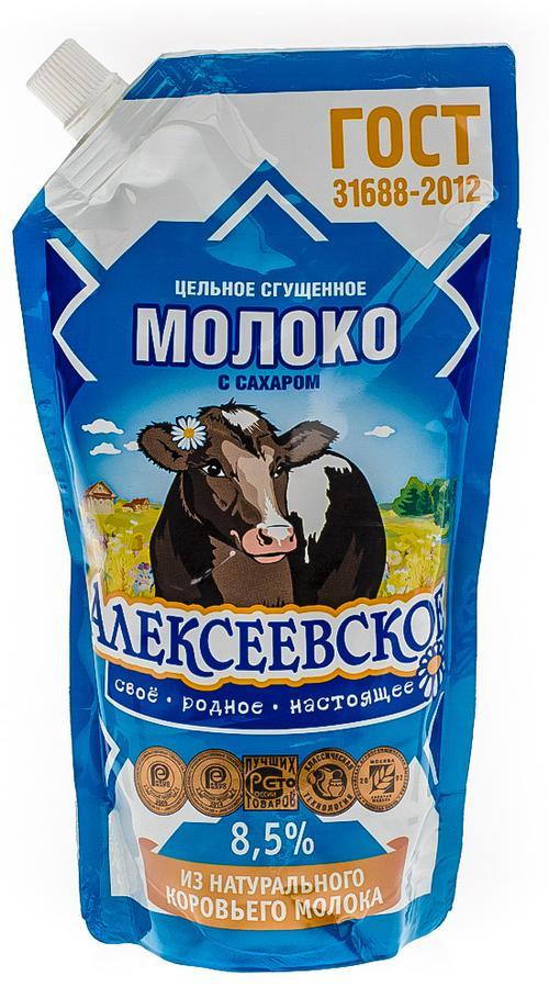 """Молоко сгущенное """"алексеевское"""" цельное с сахаром 8,5%"""