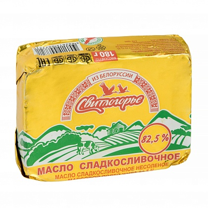 Масло сладкосливочное несолёное с массовой долей жира 82.5%. Высший сорт