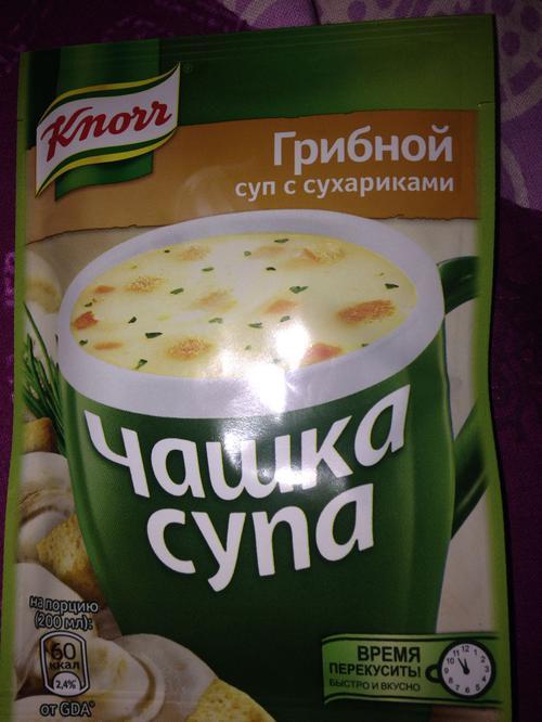 """описание Суп с сухариками """"Чашка супа"""" Грибной, сухая смесь, 1 порция, """"Knorr"""", 15,5г"""