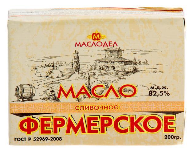 """Масло сливочное """"Фермерское"""" традиционное сладкосливочное несолёное 82.5%"""
