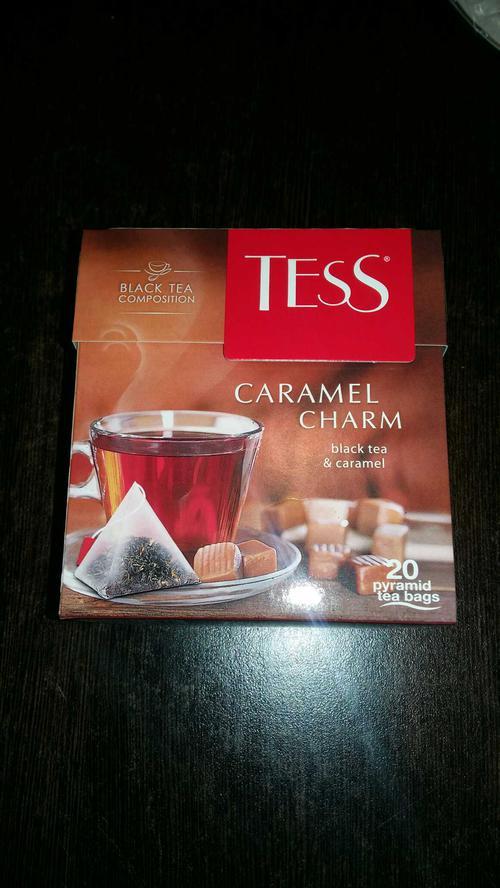 Чай черный байховый с ароматом и кусочками карамели Тесс Карамель Шарм в пакетиках