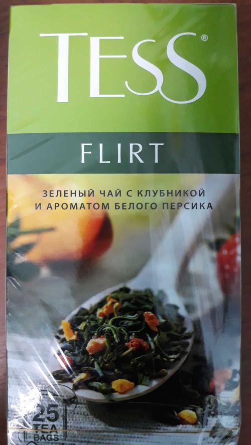фото4 Чай зеленый байховый с ароматом белого персика и клубники Тесс Флирт в пакетиках