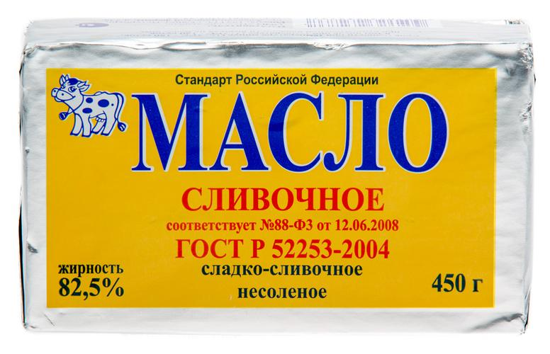 Масло сливочное сладкосливочное несолёное 82,5%