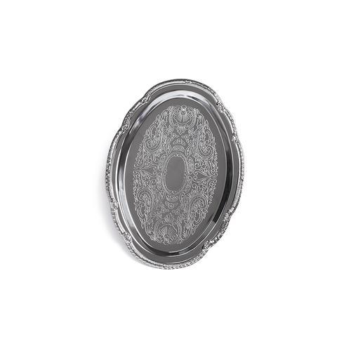 Поднос металлический хромированный 24х17см Овальный