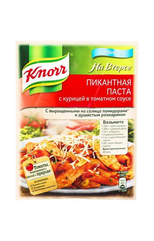 """цена KNORR """"На второе"""" Пикантная паста с курицей в соусе 27 г."""