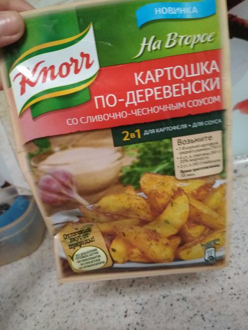 описание Приправа Knorr на второе карт.по-деревенск.чесночн.соус 28г