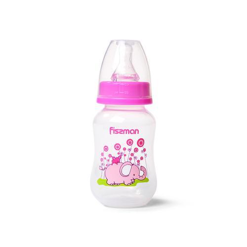 Бутылочка для кормления 125 мл, цвет РОЗОВЫЙ (пластик)