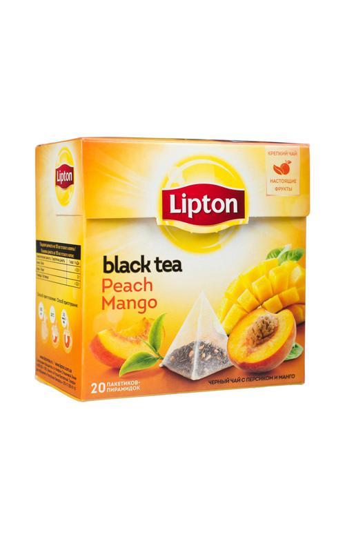 цена Чай черный Lipton Peach Mango байховый ароматизированный с кусочками фруктов, 20пак.
