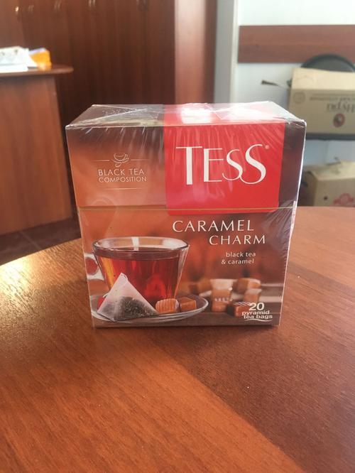 фото Чай черный байховый с ароматом и кусочками карамели Тесс Карамель Шарм в пакетиках