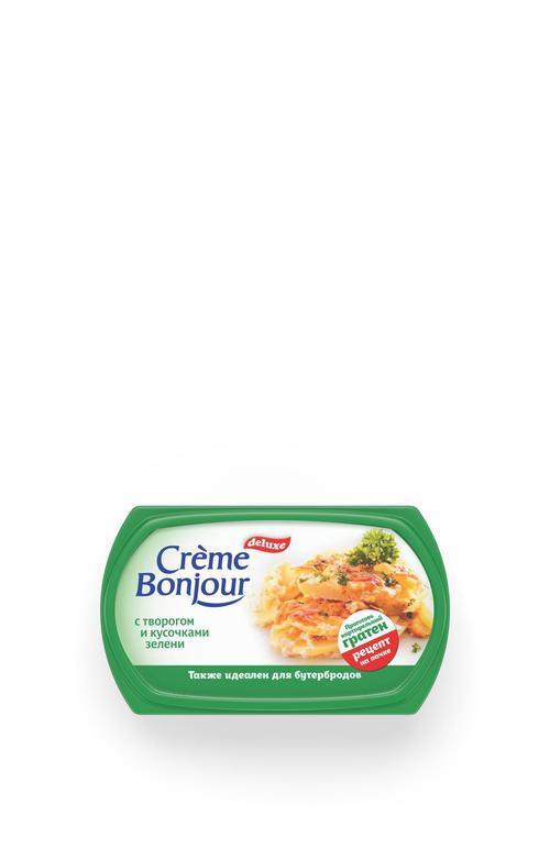 """стоимость Крем растительно- творожный """"Creme Bonjour""""  с творогом кусочками зелени, 200 г."""