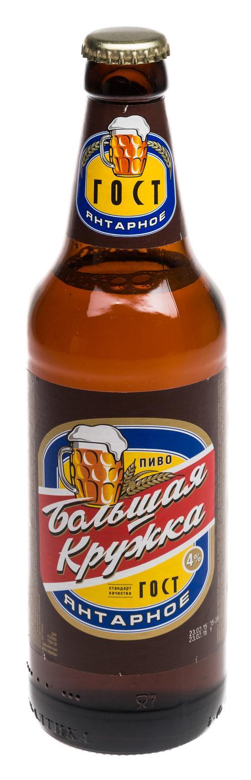 Пиво светлое Большая кружка Янтарное 4%