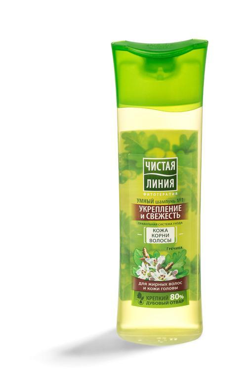 цена Шампунь № 1 укрепление и свежесть чистая линия для жирных волос и кожи головы