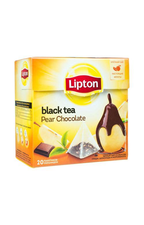 """Чай LIPTON """"Pear Chocolate"""", черный с грушей, шоколадом и мороженым, 20 пирамидок по 1,6г."""