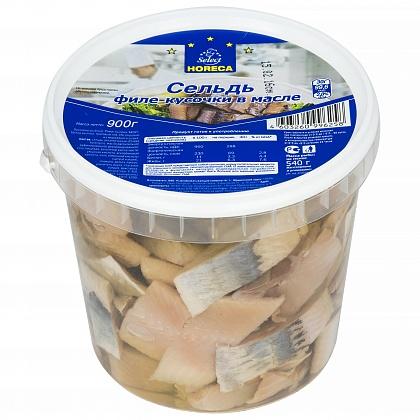Сельдь филе-кусочки в масле. Пресервы рыбные