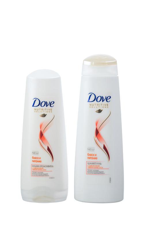 """цена Dove подарочный набор """"Коллекция блеск и питание"""" (250+200 мл)"""