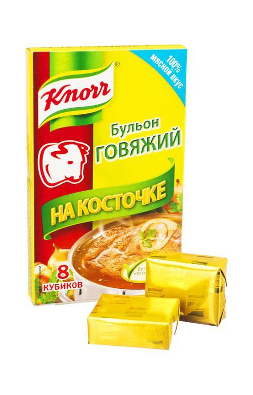 """описание Бульон говяжий """"Knorr"""" На косточке, 80 г. (8 кубиков)"""
