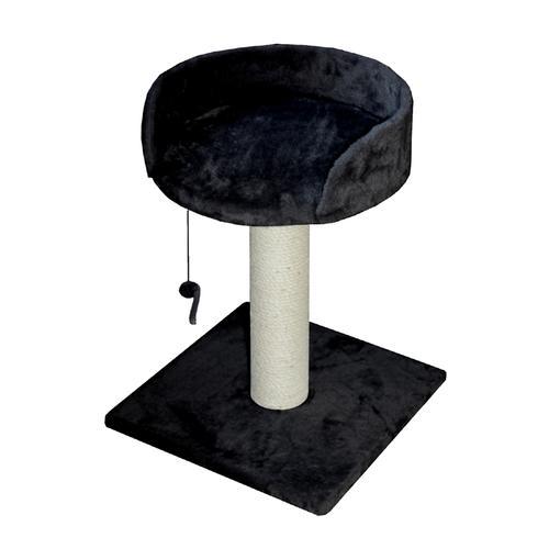 Когтеточка для кошек Foxie Столбик с лежанкой и игрушкой 30х30х45см черный